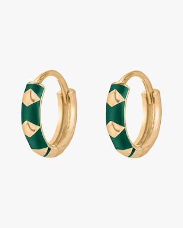 Penelope Jewelry Green Enamel Geometric Hoop Earrings 2