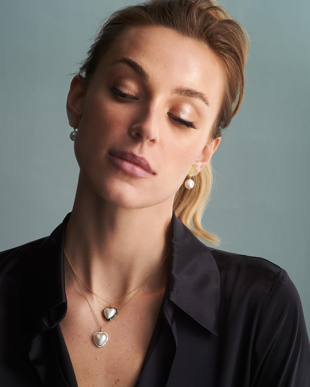 Penelope Jewelry Pearl Heart Pendant Necklace 1