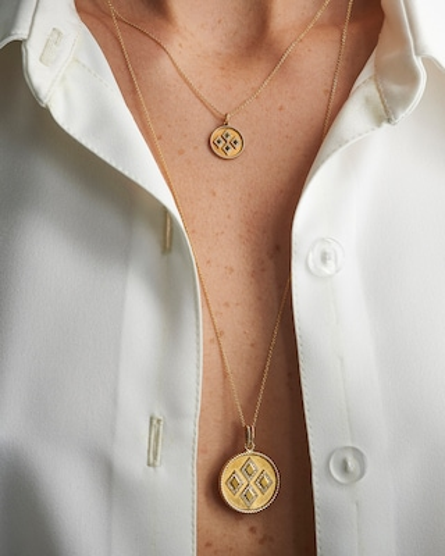 Penelope Jewelry Rhombus Disc Pendant Necklace 2