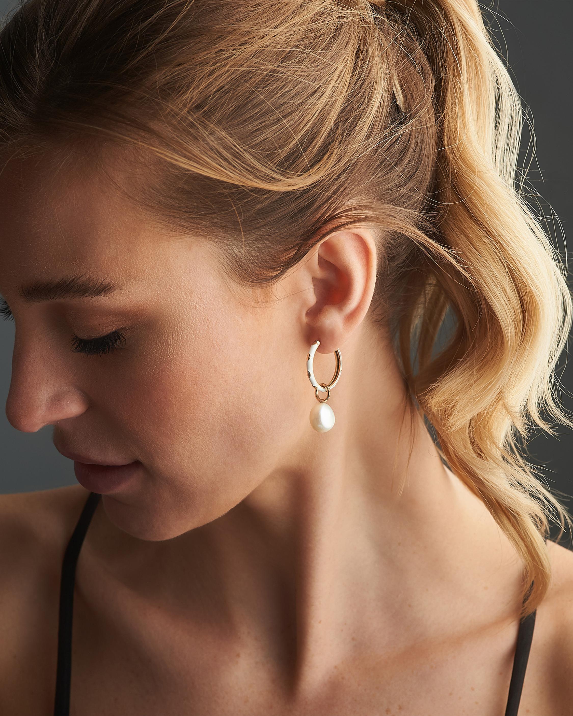 Penelope Jewelry Hanging Baroque Pearl Hoop Earrings 2