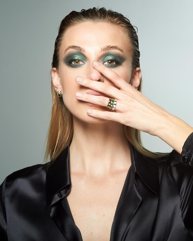 Penelope Jewelry Green Enamel Geometric Band 2