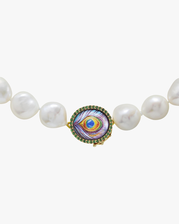 Penelope Jewelry Tsavorite Peacock Beaded Pearl Necklace 0