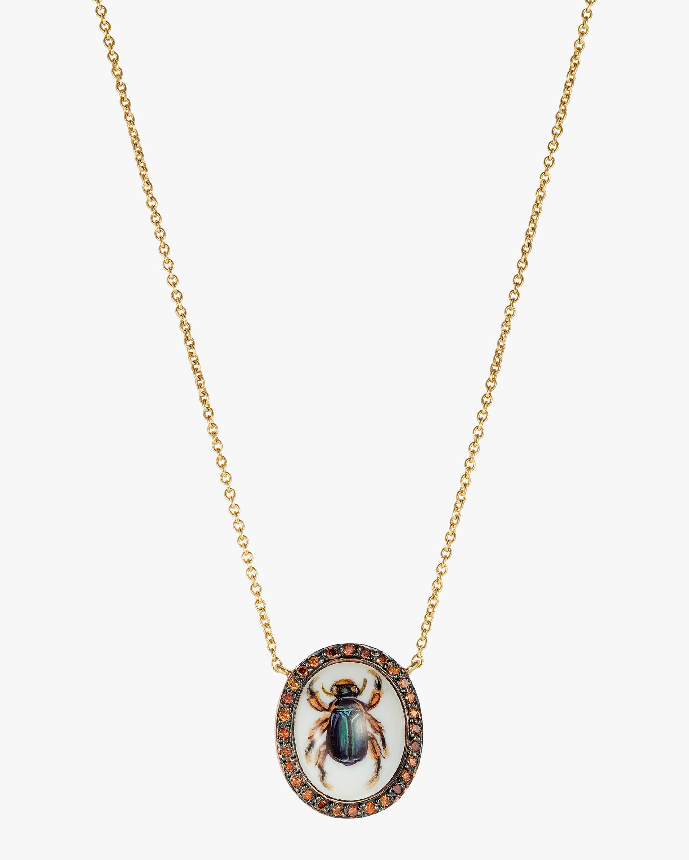 Penelope Jewelry Cognac Diamond Scarab Pendant Necklace 1