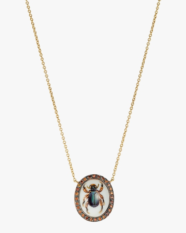 Penelope Jewelry Cognac Diamond Scarab Pendant Necklace 0