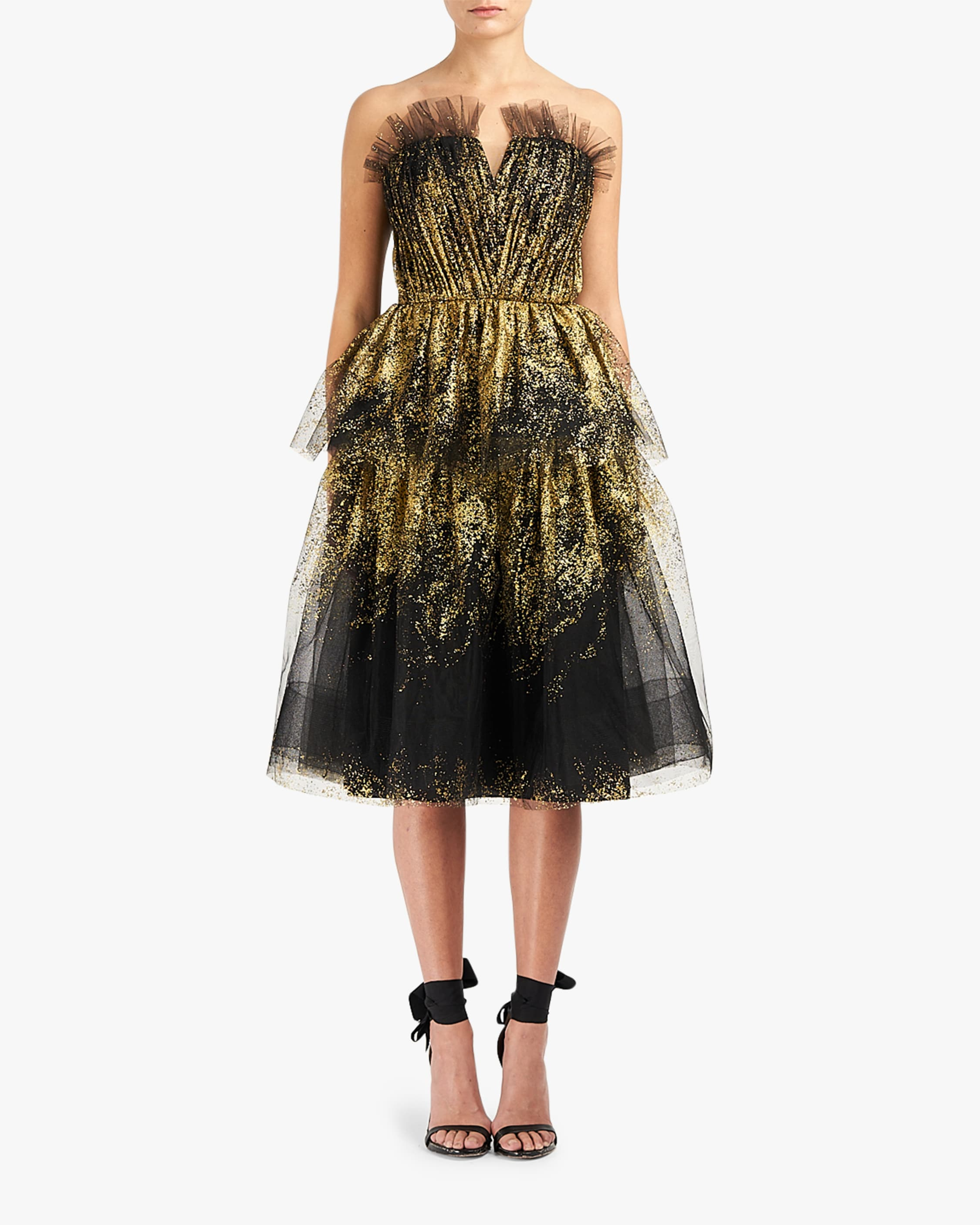 Marchesa Notte Glitter-Tulle Tiered Strapless Gown 1