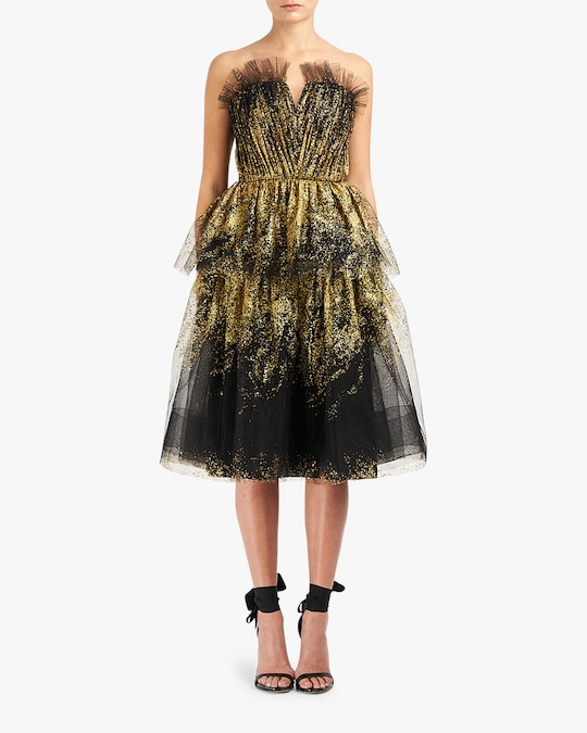 Marchesa Notte Glitter-Tulle Tiered Strapless Gown 0