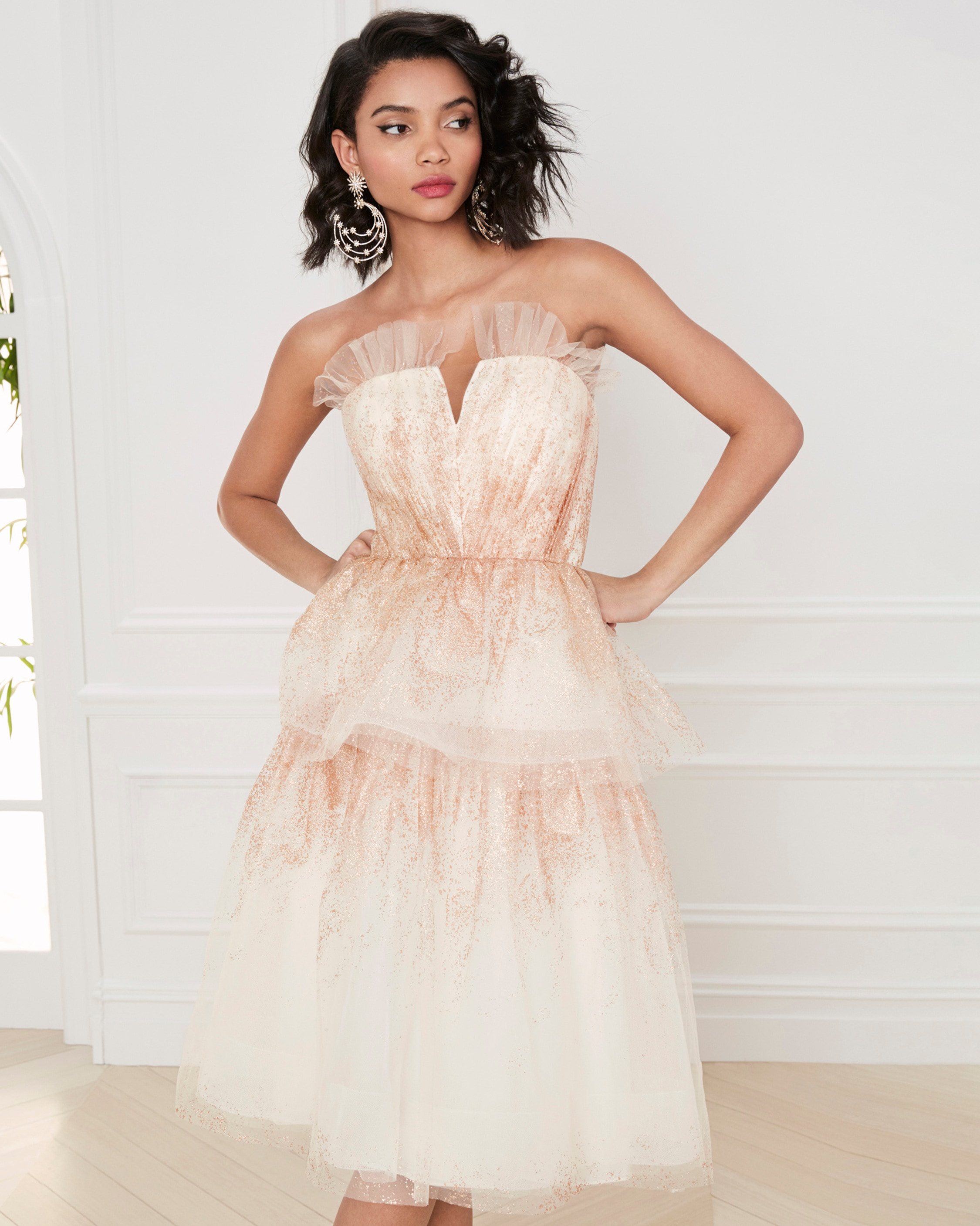 Marchesa Notte Glitter-Tulle Tiered Strapless Gown 2