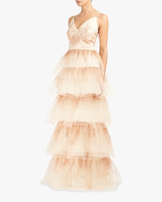 Marchesa Notte Glitter-Tulle Tiered Gown 1
