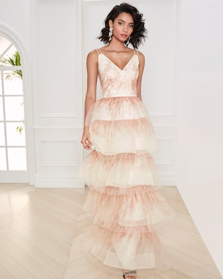 Marchesa Notte Glitter-Tulle Tiered Gown 2