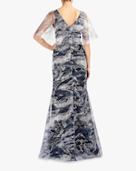 Marchesa Notte Cape-Sleeve Glitter-Tulle Gown 3