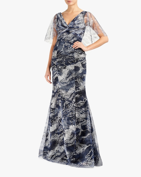 Marchesa Notte Cape-Sleeve Glitter-Tulle Gown 0