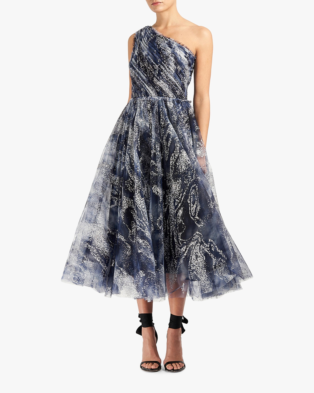 Marchesa Notte One-Shoulder Tulle Tea-Length Gown 0