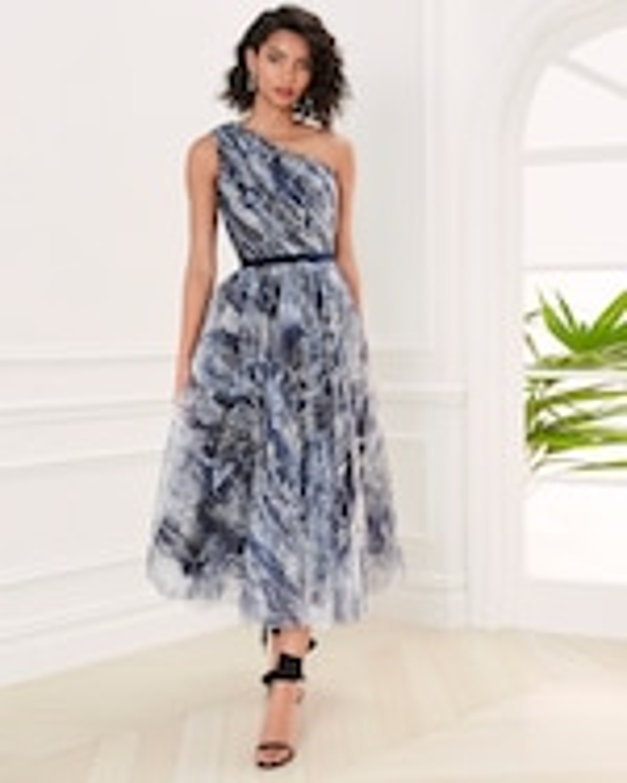 Marchesa Notte One-Shoulder Tulle Tea-Length Gown 1