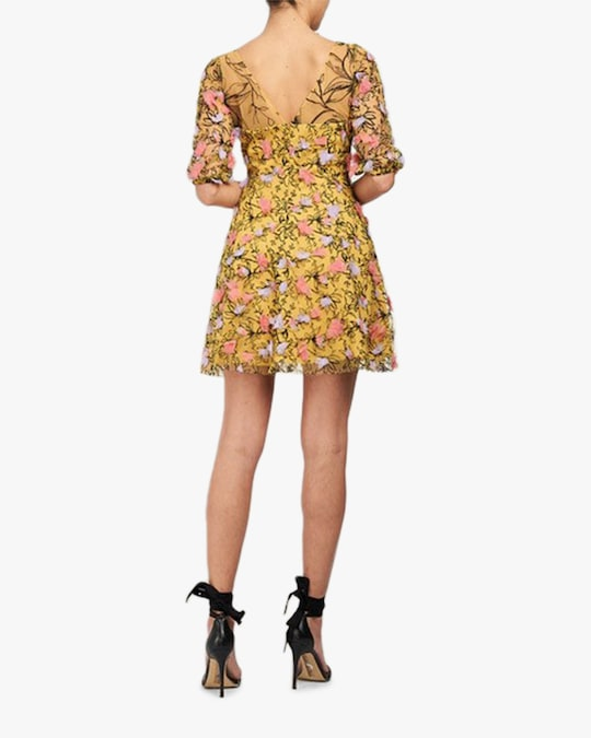 Marchesa Notte Embriodered-Tulle Mini Dress 1
