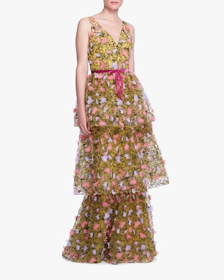 Marchesa Notte Three-Tiered Tulle Gown 1