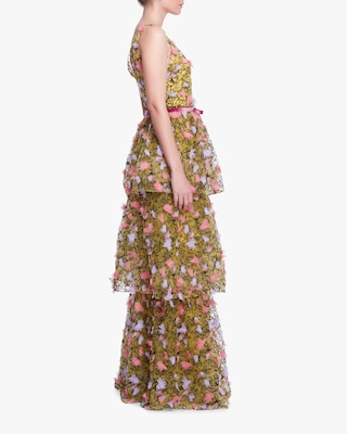 Marchesa Notte Three-Tiered Tulle Gown 2