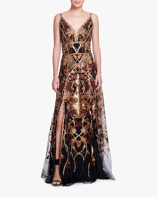 Marchesa Notte Sequin-Embroidered Tulle Gown 1