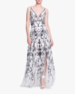 Marchesa Notte Sequin-Embroidered Tulle Gown 0