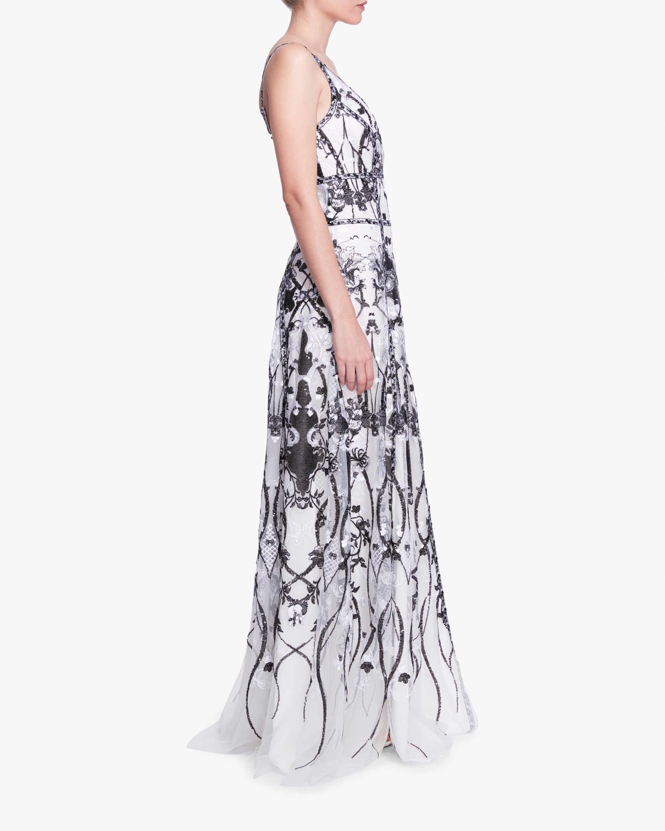 Marchesa Notte Sequin-Embroidered Tulle Gown 2