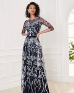Marchesa Notte Embroidered-Tulle Boatneck Gown 1