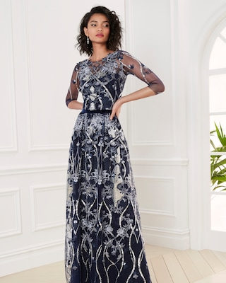 Marchesa Notte Embroidered-Tulle Boatneck Gown 2