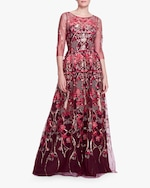 Marchesa Notte Embroidered-Tulle Boatneck Gown 0
