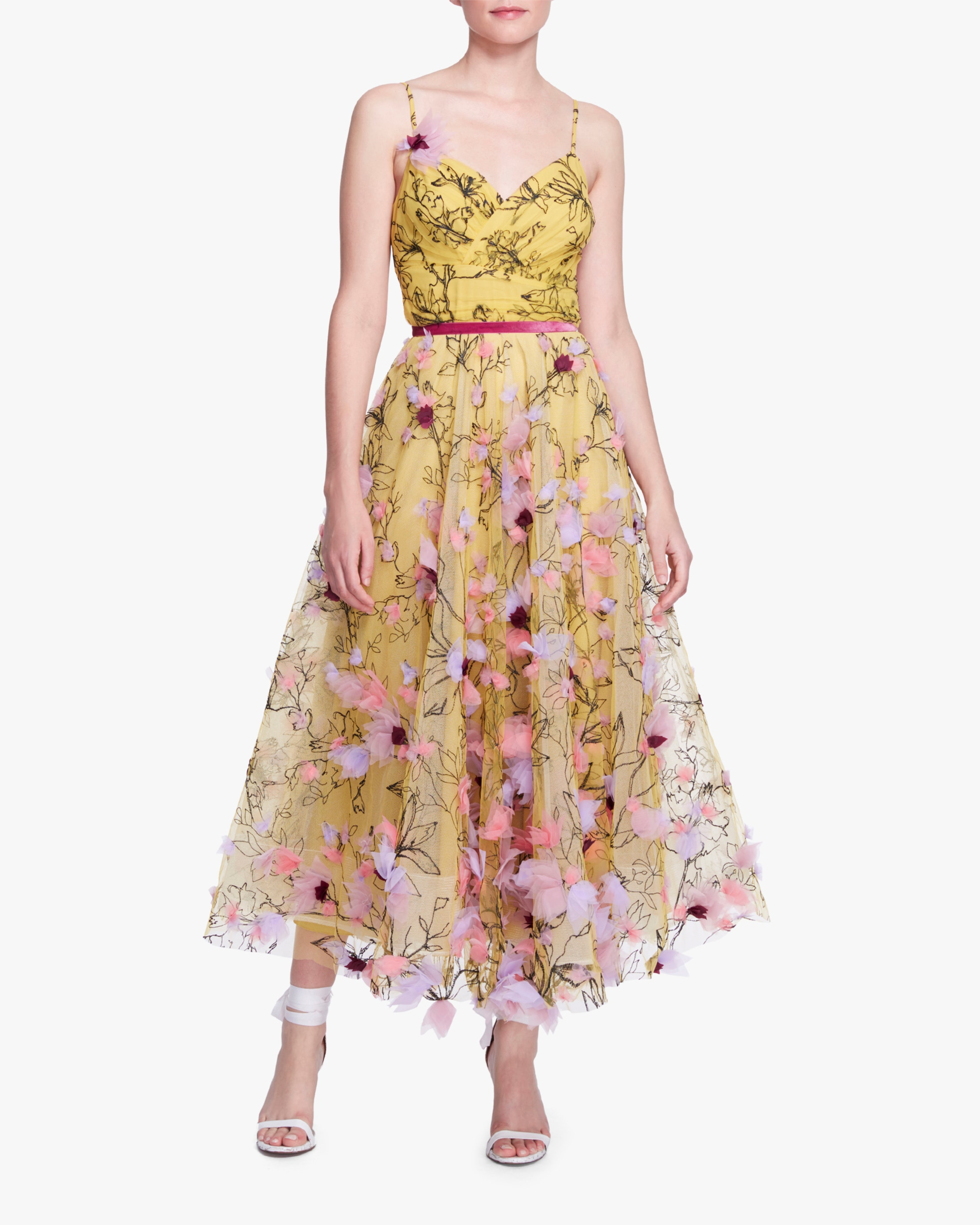 Marchesa Notte Embroidered-Tulle Tea-Length Gown 1