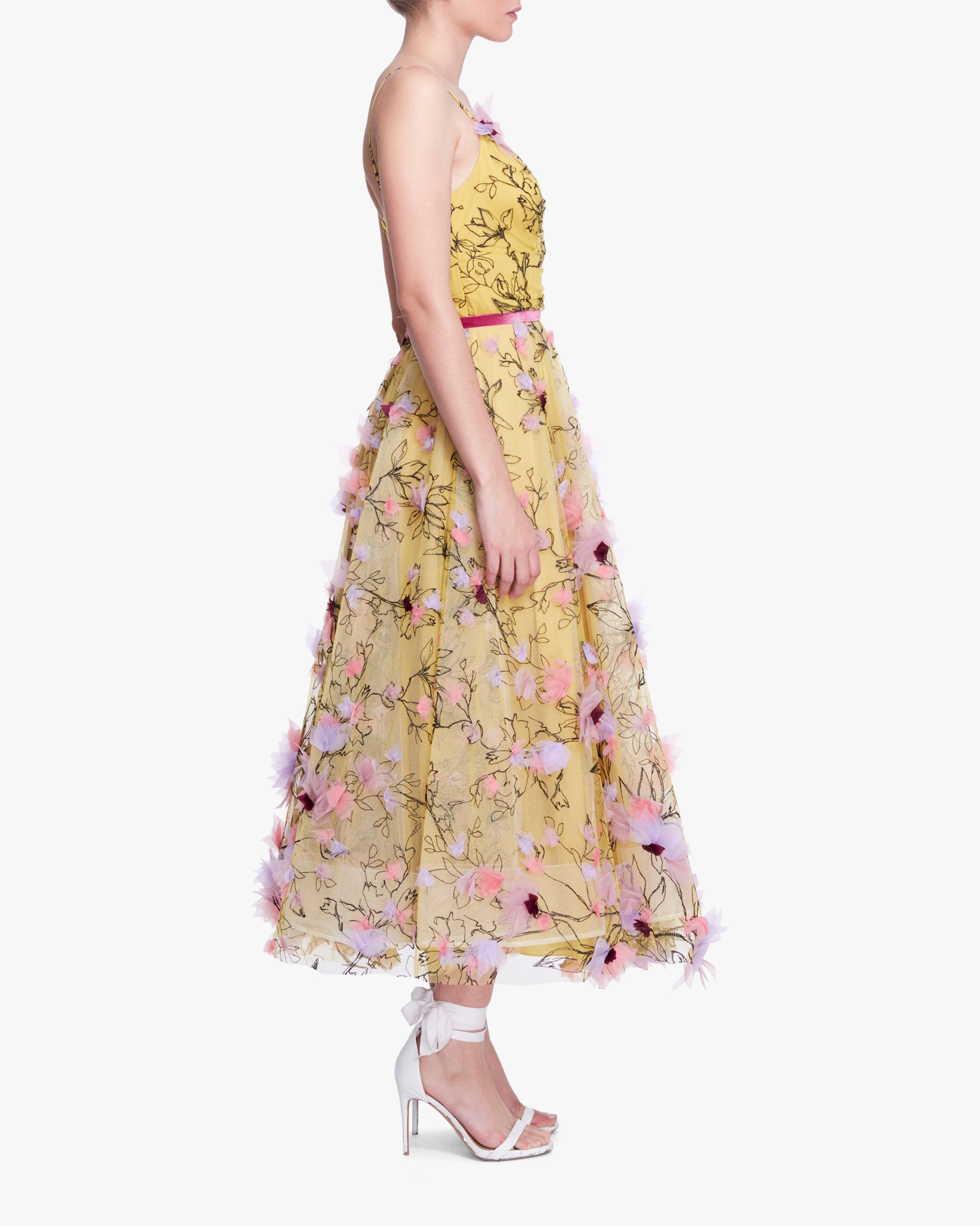 Marchesa Notte Embroidered-Tulle Tea-Length Gown 2