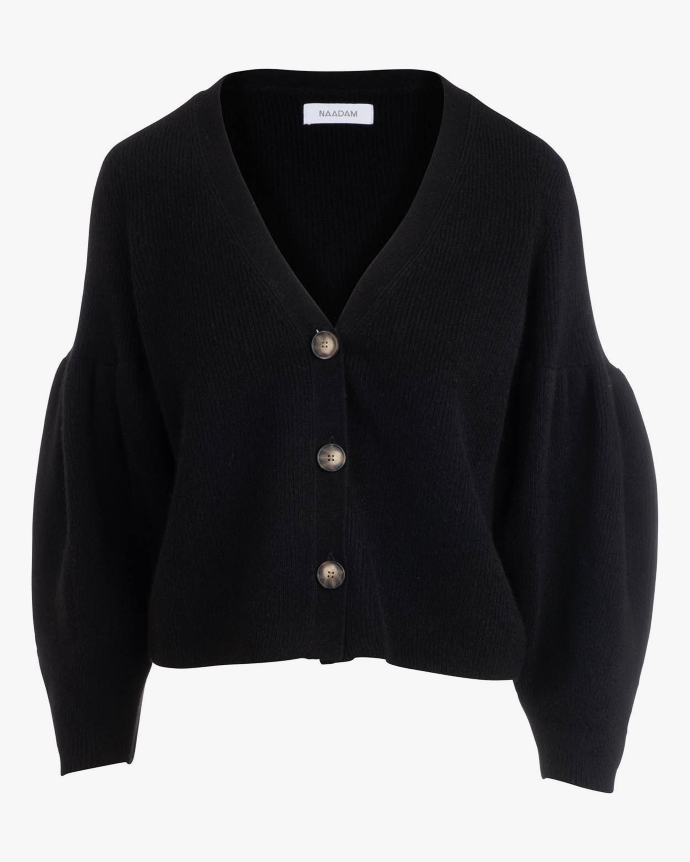 Pleated-Sleeve Cashmere Cardigan