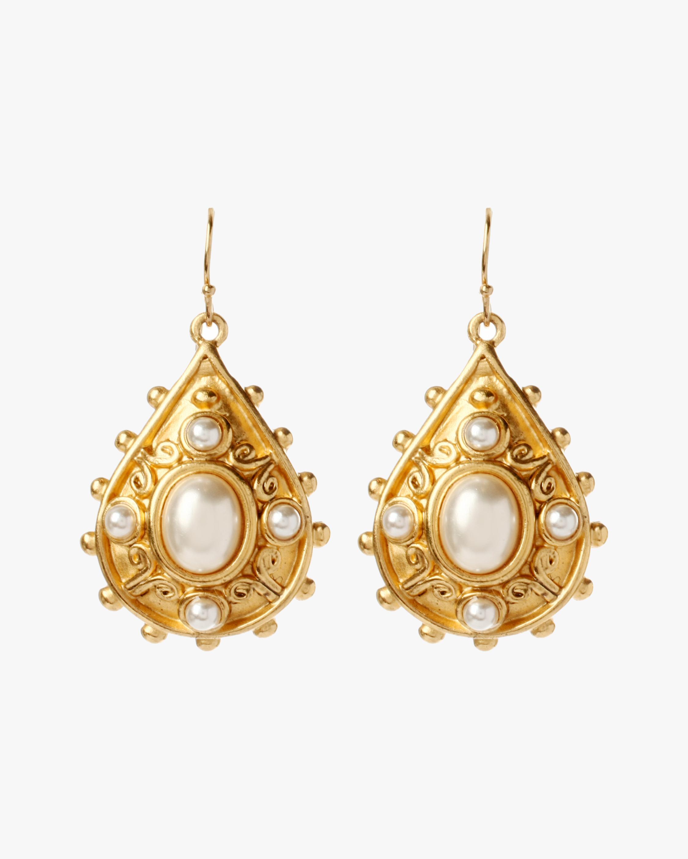 Ben-Amun Pearl Fish Hook Earrings 2