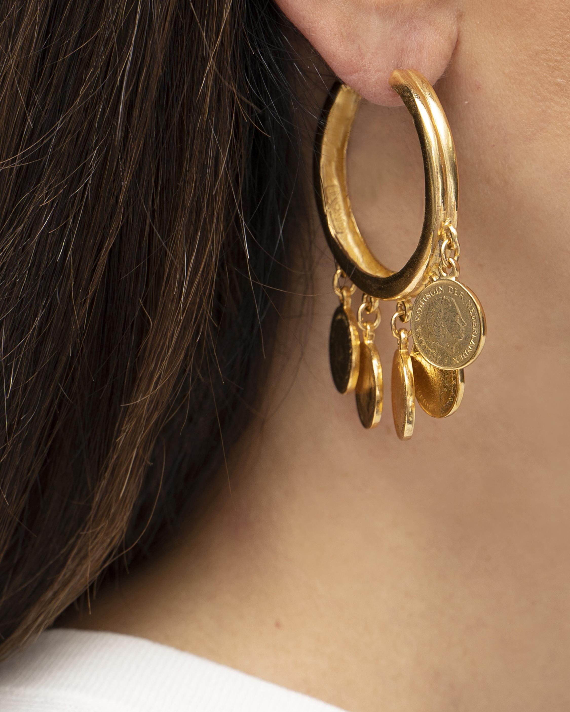 Ben-Amun Coin Hoop Earrings 2