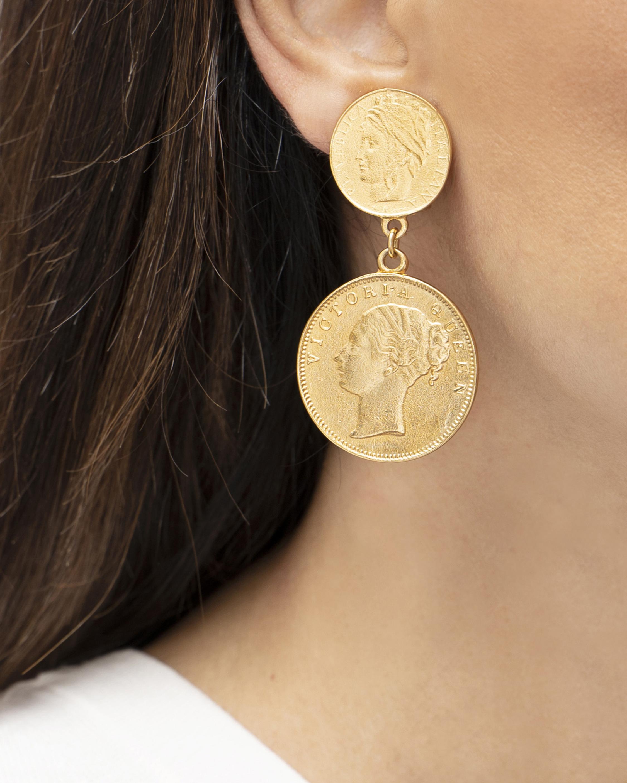 Ben-Amun Gold Coin Drop Earrings 2
