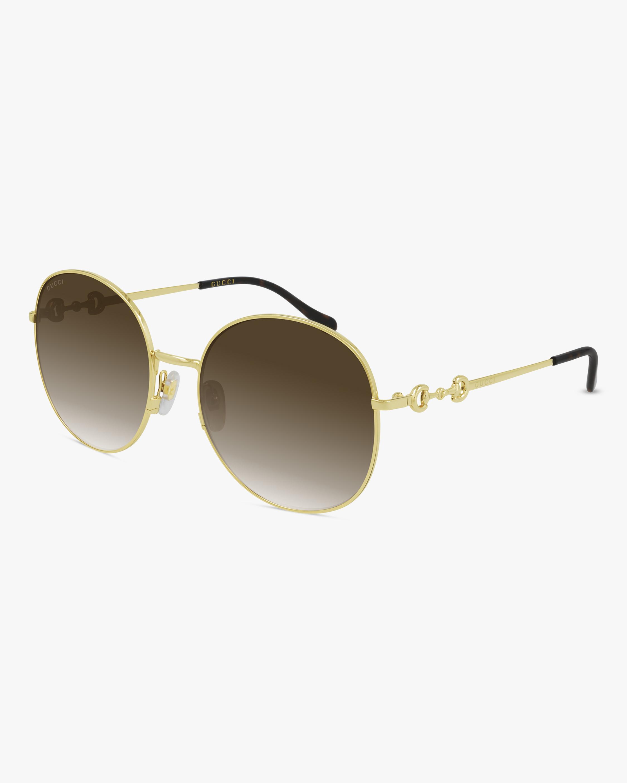 Gucci Gold Round Sunglasses 0