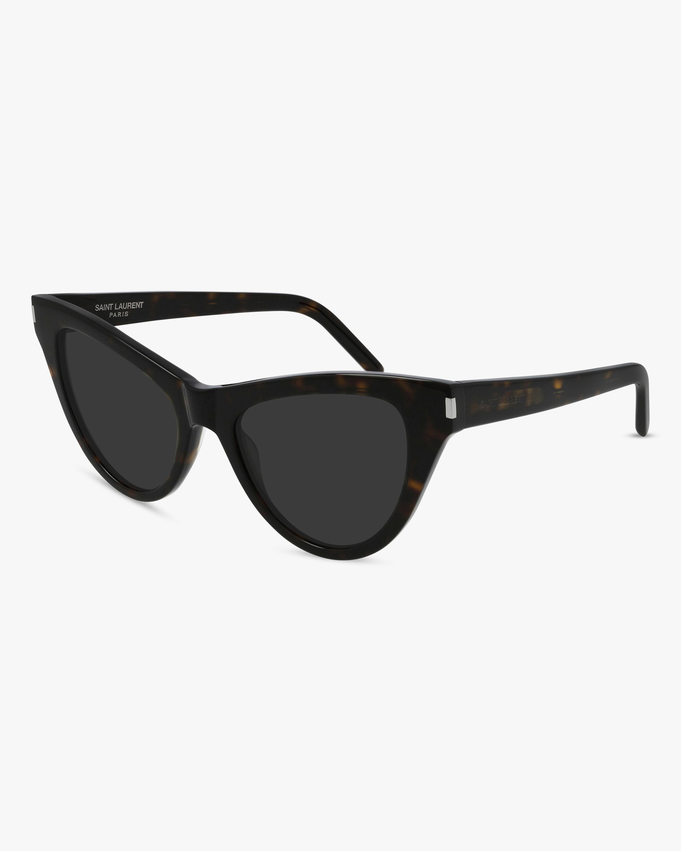 Saint Laurent Dark Havana Cat-Eye Sunglasses 0