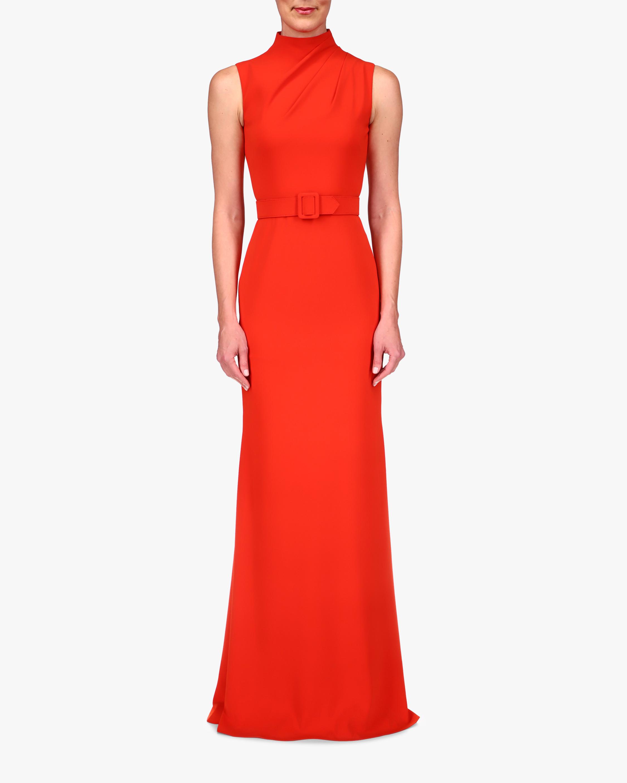 Badgley Mischka High-Neck Belted Gown 1