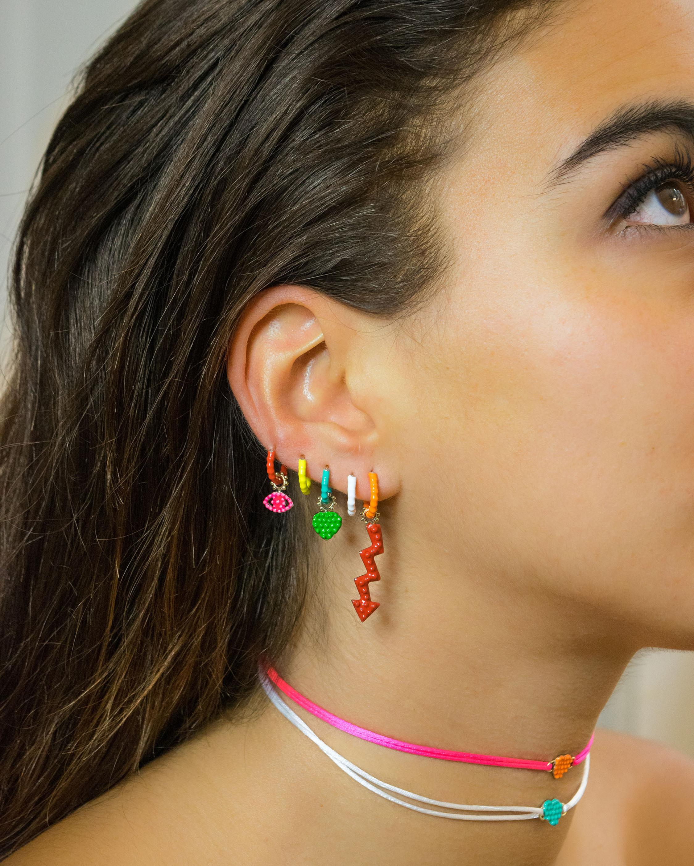 Gaya Single Red Lacquered Hoop Earring 2