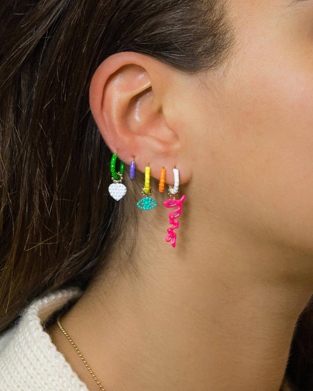 Gaya Single White Lacquered Hoop Earring 2