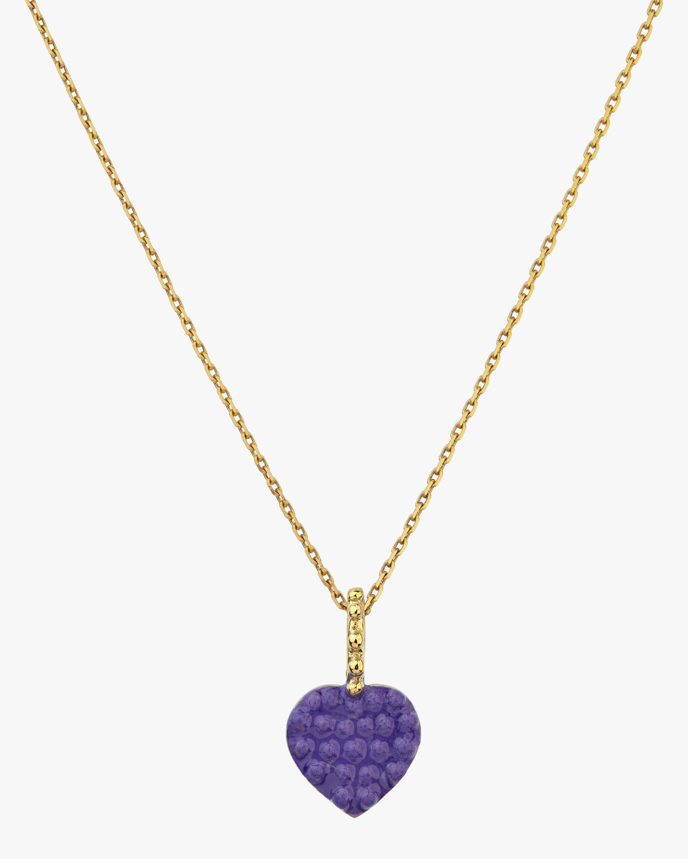Gaya Purple Lacquered Mini Heart Pendant Charm 0