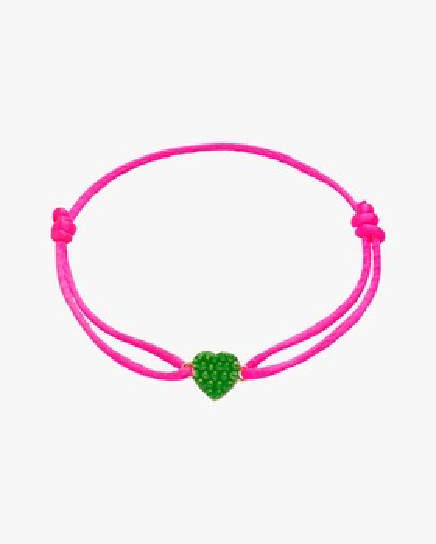 Green Lacquered Mini Heart Bracelet