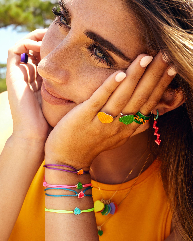 Gaya Green Lacquered Mini Heart Bracelet 2