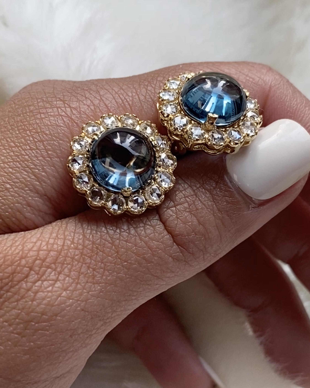 Goshwara Rock N' Roll Topaz & Diamond Stud Earrings 1