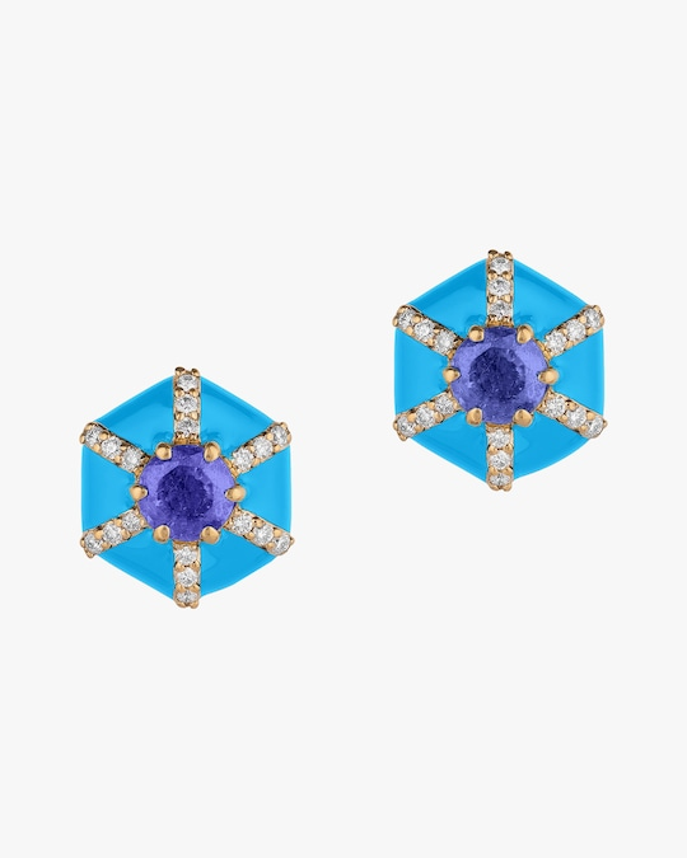 Goshwara Queen Hexagon Tanzanite & Diamond Stud Earrings 0