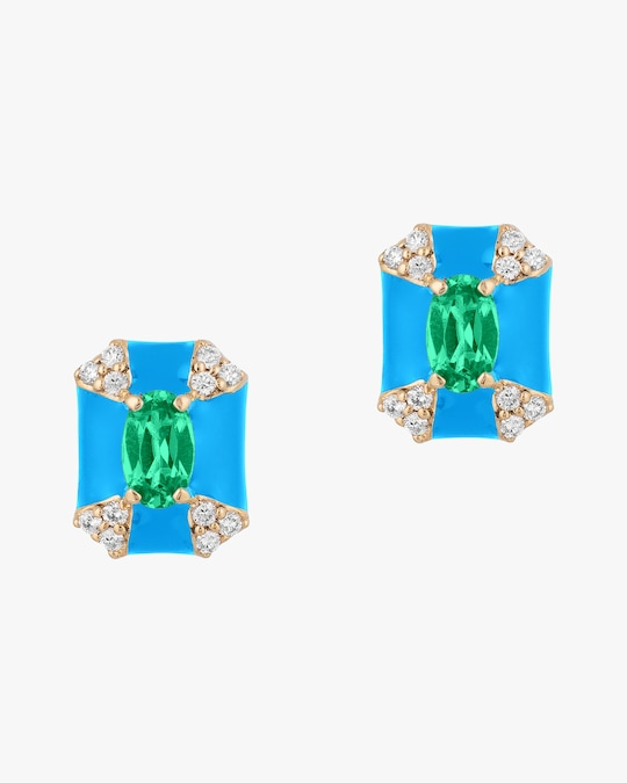 Goshwara Queen Emerald & Diamond Stud Earrings 0
