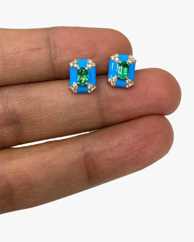 Goshwara Queen Emerald & Diamond Stud Earrings 1