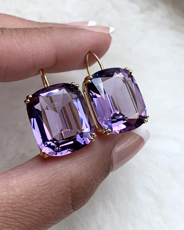 Goshwara Gossip Cushion-Cut Amethyst Earrings 1