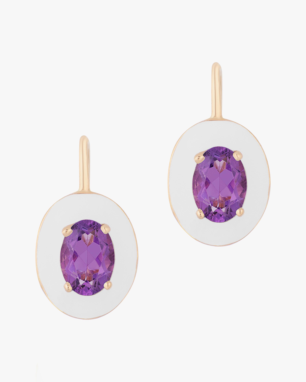 Goshwara Queen White Oval Amethyst Earrings 0
