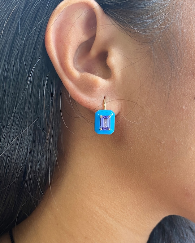 Goshwara Queen Emerald-Cut Tanzanite Earrings 1