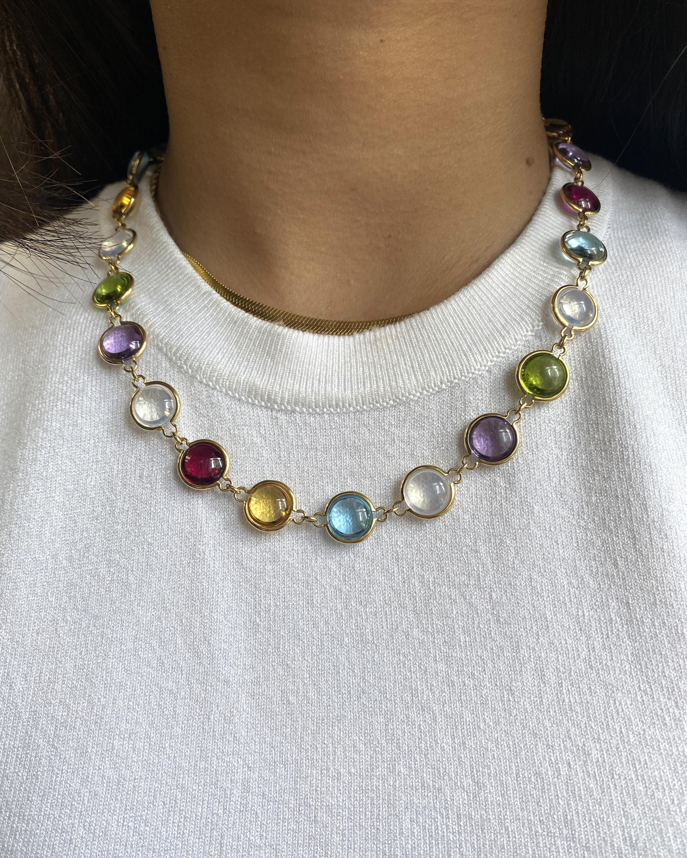Goshwara Mischief Gemstone Disc Station Necklace 1