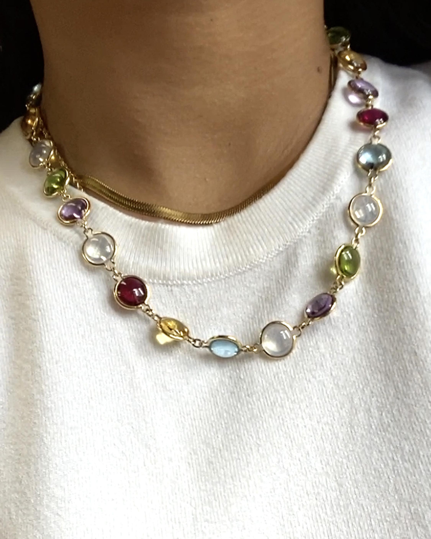 Goshwara Mischief Gemstone Disc Station Necklace 2