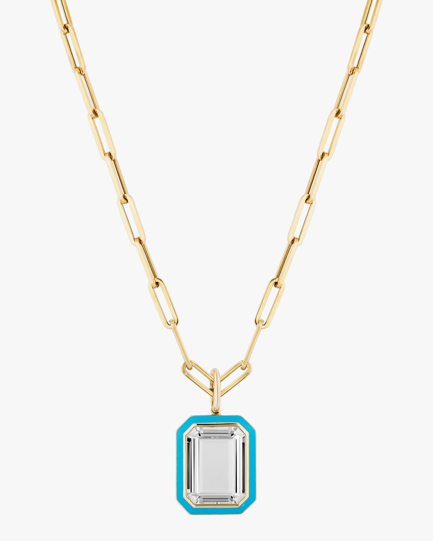 Goshwara Queen Emerald-Cut Crystal Pendant Necklace 1